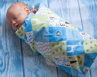 Flannel Receiving Blanket - Swaddle Wrap - Baby Flannel Swadle - Blue Baby Blanket - Baby Boy Gift -  Green Baby Boy Blanket