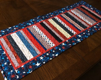 Patriotic Stripes Quilted Table Runner - red, white, blue runner