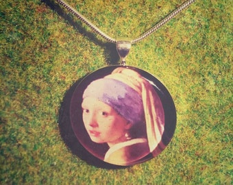 Girl with a Pearl Earring, Johannes Vermeer, Hand crafted, Silver Plated Pendant, Snake Chain.