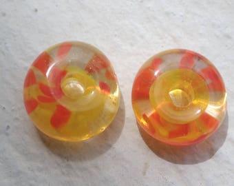 Duo beads: the bright orange and yellow