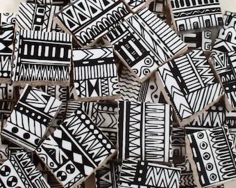 Ceramic Mosaic Tiles - Boho Tribal Black And White Mosaic Tile Pieces - 40 Pieces - For Mosaic Art / Mixed Media Art/Jewelry