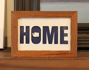 """Personalized Paper Cut Out of """"Home"""" 4""""x 6"""""""