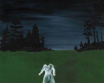 Headless Ghost Halloween greetings card, art card