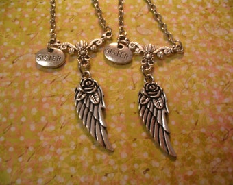 Sisters Angel Wing Necklace Set for Sisters Jewelry Gift
