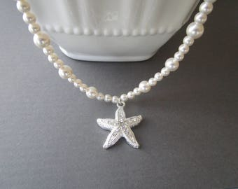 Starfish Necklace, Bridal Necklace, Rhinestone Starfish, Bridesmaid Necklace, Bridal Jewellery, Beach Wedding Jewelry, Pearl Necklace
