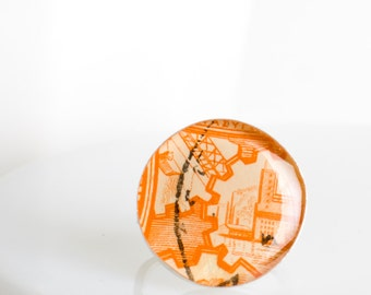 Ring | Postage stamp | Greece | Orange | Large | Size 7.5