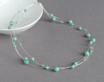 Mint Green Floating Pearl Necklace - Aqua Multi Strand Jewellery - Robin Egg Blue Bridesmaid Necklaces - Jade Bridal Party Gifts - Turquoise