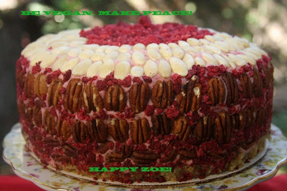Vegan Vanilla Raspberry Buttercream cake with almonds and pecans , love, animal free cruelty,no eggs,no dairy, new year promotion.