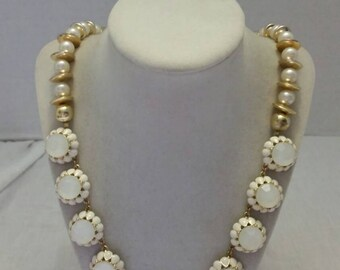 White and Gold Pearl Necklace Gold and White Pearl Necklace Statement Necklace One Of A Kind Necklace Bridesmaid Necklace Wedding Necklace