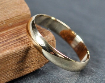 4mm Wide Half Round Low Profile Ring, Gold Wedding Band, 14K Yellow Gold Ring, Sea Babe Jewelry