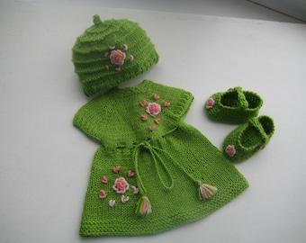 15-16 inch Waldorf doll clothes dress, clothing set, hand knit dress, hat, socks.