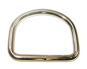 """2-1/2"""" D-Ring 7mm welded wire nickel plated 6pk"""