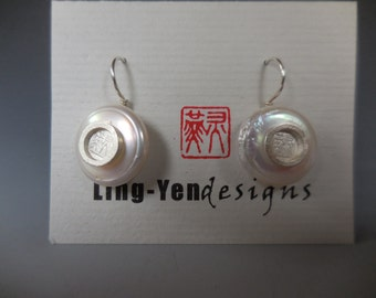 Chinese Signature Chop with pearl earrings