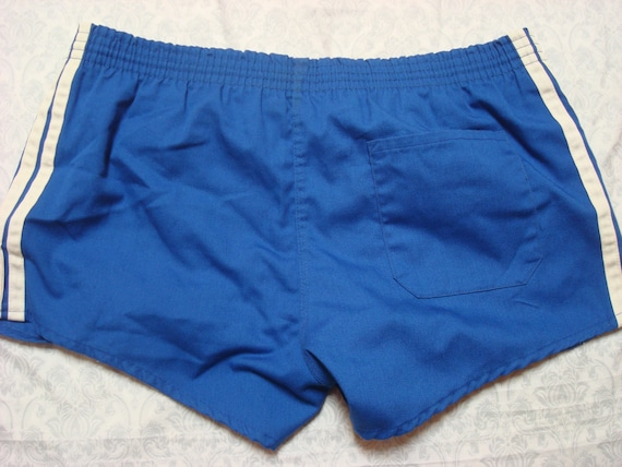 Vintage 70s Adidas Trefoil Blue Three Stripe Running Gym Shorts - 1970s Adidas Shorts - 70s Clothing - MV0193