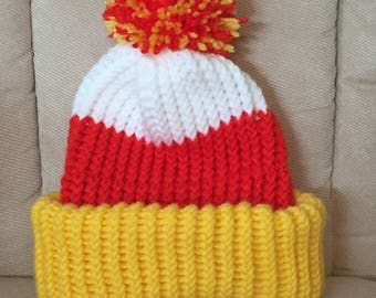 Candy Corn Pom-Pom Hat - Preemie & Infant - Made to Order