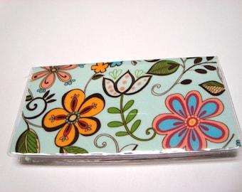 Checkbook  Holder / Cover/ Case - Happy Flowers