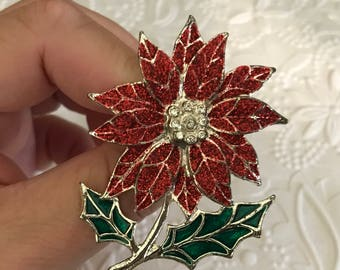 Vintage Poinsettia Christmas Pin/Brooch Christmas Jewelry Gifts for Friends Co-Worker or Bosses Gifts Teacher Gift For Mom Ten Dollar Gifts