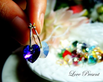 Dangle Earrings - Swarovski Crystal Sterling Sliver Hoop Heart Earrings - Rainbow color option for you
