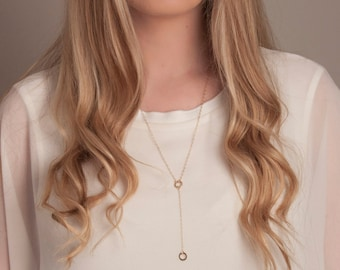Gold or Silver Long Lariat Circles Necklace, Long Y Circles Necklace, Long Gold Necklace, Long Infinity Necklace, Long Karma Necklace