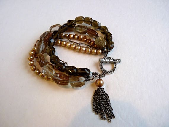 SILPADA BRACELET ~ 5 Strand Toggle Bracelet ~ Sterling Silver ~ Smoky Quartz Pearls Sunstone ~ Vintage ~ Retired