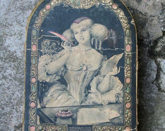 Charming French Vintage Box, early 20th or late 19th century box, French ephemera, Marquise de Sévigné