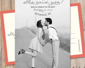 Save-The-Date, Save The Date Card or Magnet - She said yes!