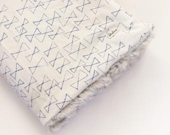 Boho Baby Blanket - Blue Minky Blanket / Fur Crib Blanket /Baby Stroller Blanket /Baby Shower Gift /Minimalist Nursery Bedding Boys Bow Tie