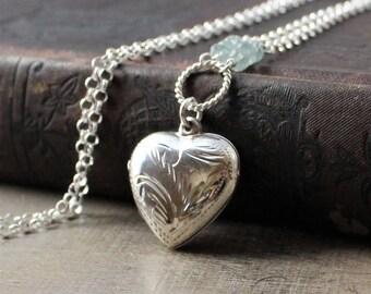March Birthstone Locket Necklace, Aquamarine Locket Pendant, Sterling Silver Locket, Silver Heart Locket, Push Gift for Mom, Photo Locket