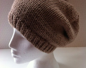 Hand Knitted Slouchy Beanie Hat Beige - Adult
