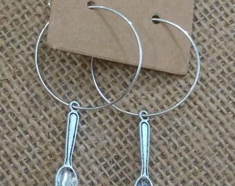 Spoon earrings.  Hoops. Teaspoons