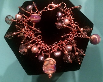 Antique Copper Bracelet with Purple Lampwork, Freshwater Pearls & Swarovski Crystals- Free Shipping