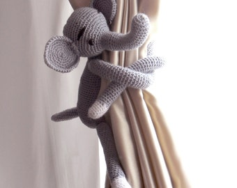 Curtain tie backs,Elephant curtain tie back,1 pcs,burlap curtains,Nursery curtains,Shabby chic curtains,Crochet Curtain Tie Back
