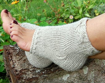 Knit Pedicure Socks, Toeless Socks, Flip Flop Socks,  Cable Knit Socks, Yoga Socks, Hand Knit Socks for Pedicure