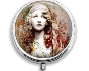 Pill Box Pill Case Gypsy Girl Vintage Woman Pill Holder Pill Container Trinket Box Vitamin Holder Medicine Box Mint Tin