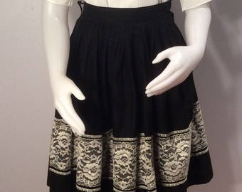 1950's black full skirt with lace trim rockabilly vintage theater costume square dance vintage extra small swing dance western