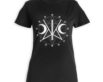 SIGIL OF KADABRA Women's T Shirt, Super Soft, Screen Printed Tee, Short sleeve fitted tee, witchy, occult, goth, KadabraCult