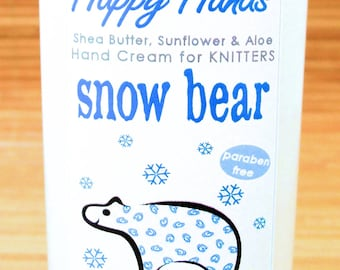 Scented Shea Butter Hand Lotion - Snow Bear Men's Holiday Fragrance - Hand Cream for Knitters Happy Hands Knitting Unisex Gender Neutral