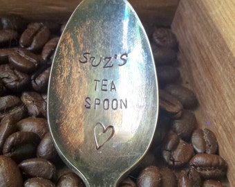 Personalized TEA SPOON Spoon with Name Stamped Spoon Personalized Spoon Vintage Silver Flatware