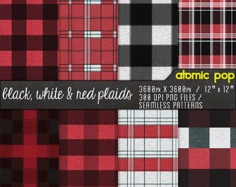 Red, Black, and White Plaid Flannel Textured Digital Paper Pack// Instant Download Seamless Tile Patterns // Digital Scrapboking