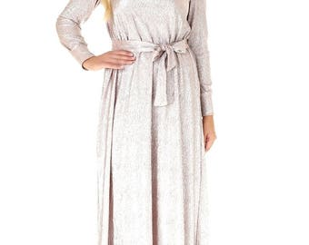 Last One Rose Gold A line Loose Maxi Dress Long Sleeves Sash Ankle Length