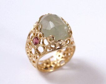Alternative Engagement Ring Filigree engagement ring large filigree ring filigree stone ring Large Stone ring Unusual engagement ring