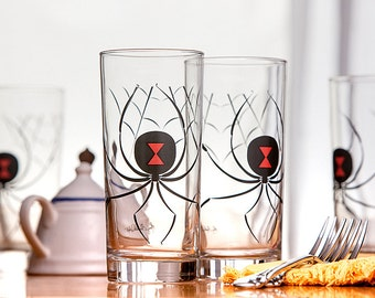 Black Widow Spider Water Glasses - Set of 4 Glasses, Halloween Glasses, Halloween Glassware, Halloween Decor, Spider Glasses, Black Widows