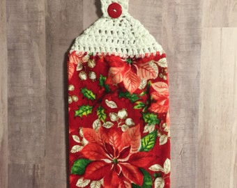 Crocheted Top Dish Towel  - Poinsettias