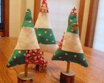 Fabric Christmas Trees / Quilted Christmas Trees / Rustic Christmas Decor / Christmas Decorations / Holiday Decorations / Holiday Trees