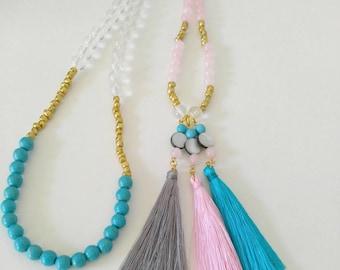 Tassel Necklace, Long Tassel Necklace, Gemstone Necklace, Handmade Necklaces, Beaded Necklaces, Tassels