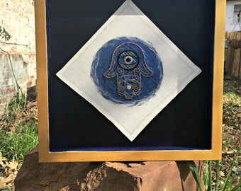 Mixed Media Hamsa (Free Shipping) - Embroidered Judaica Fiber Art and Paint -|-|- Framed Shadow Box - Shrine - Altar