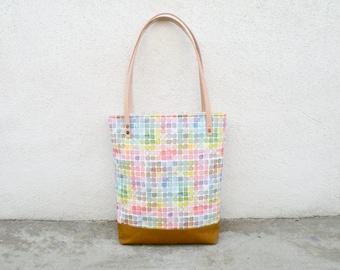 Rainbow Watercolor Canvas Tote Bag - Vintage Color Guide Fabric - Shoulder Bag, Colorful Handbag, Artists Tote