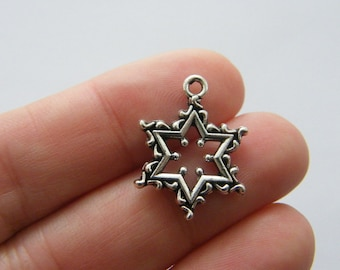 6 Star charms antique silver tone S60