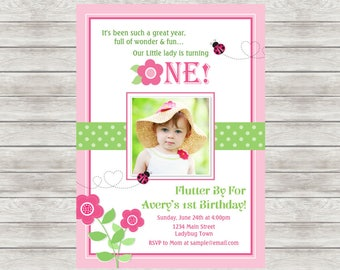 Ladybug Birthday Invitation, Pink Ladybug 1st Birthday Invitation - Digital File (Printing Services Available)