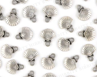 Clam Shell Charms Antique Silver - 10 pcs - 15mm x 12mm - Pewter, Seashell, Beach, Nautical, Summer, Charm Bracelet, Charm Jewelry - AS-22